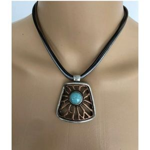 CHICOS Womens Bronze & Turquoise Necklace Chocker